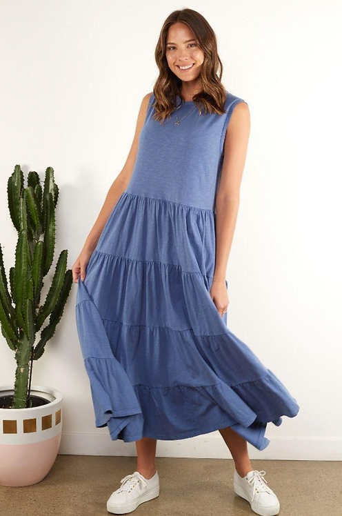Nebraska Frill Dress Blue - FOXWOOD