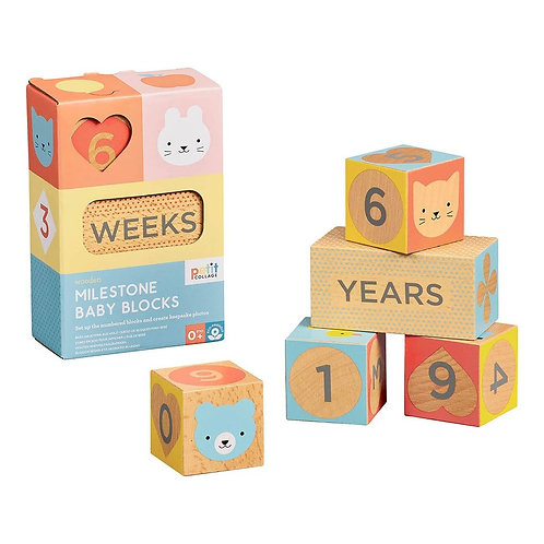 Wooden Baby Milestone Blocks - Petit Collage