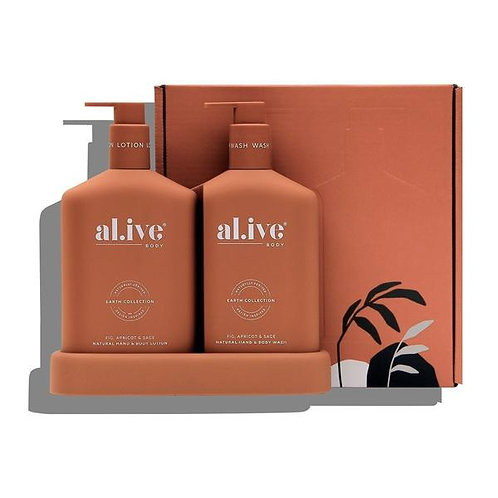 Wash & Lotion Duo + Tray - Fig, Apricot & Sage - ALIVE BODY