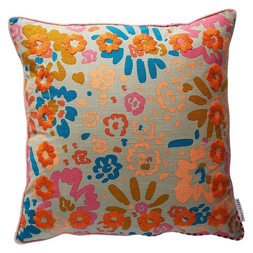 Carabela Embroidered Cushion - SAGE AND CLARE