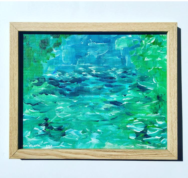 Navigating Deep Waters 11'x14' canvas bd framed in oak
