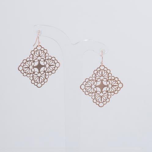 SUPER AMAZING - Rose Gold Filigree Hook Earrings