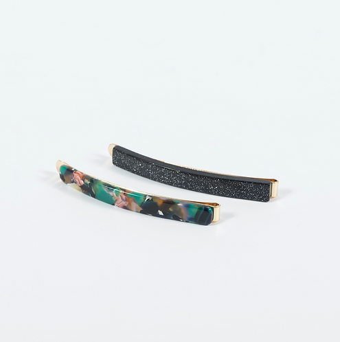 SUPER AMAZING - Green Multi Acetate Hair Slides
