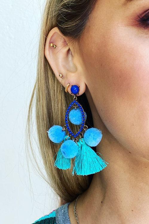 Blue Poms Earrings - Mosk Melbourne