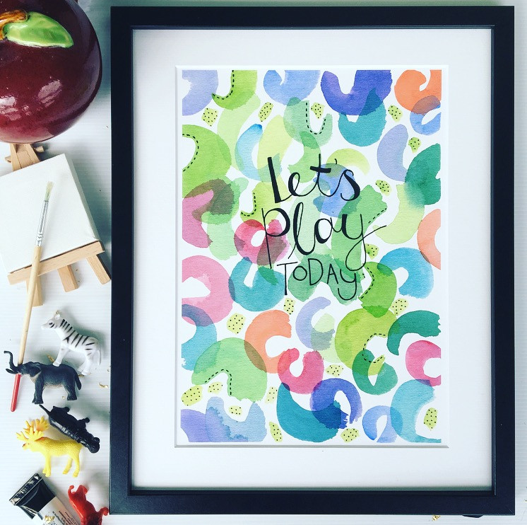 Let's play today watercolour artwork