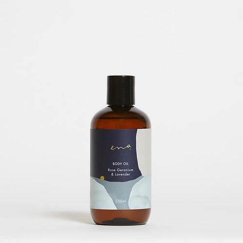 250mL Body Oil - Rose Geranium & Lavender - ENA