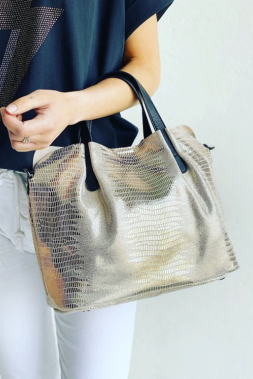 MOSK - Metallic Snake Leather Handbag Gold