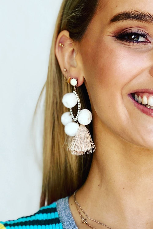 Natural Poms Earrings - Mosk Melbourne