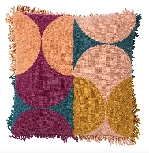 Keziah Punch Needle Cushion - Peach - SAGE AND CLARE