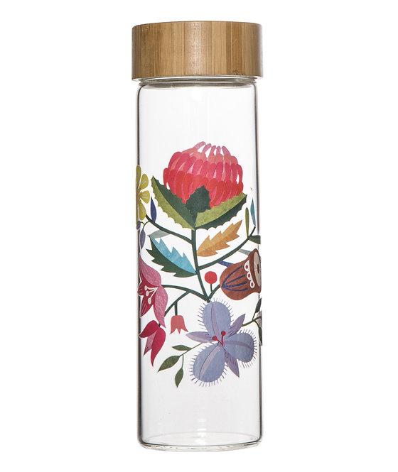 Australiana Flora Glass Water Bottle