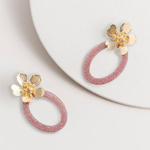 SUPER AMAZING - Flower Dangle pink/Gold