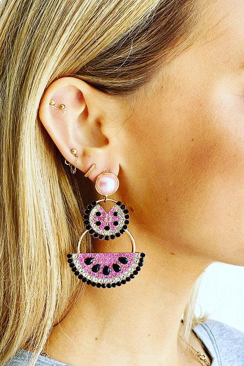 Crystal Watermelon Earrings - Mosk Melbourne