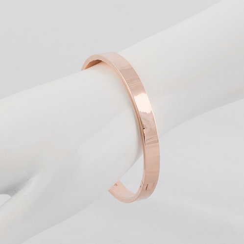 SUPER AMAZING - Classic Hinge Bangle Silver and Rose Gold