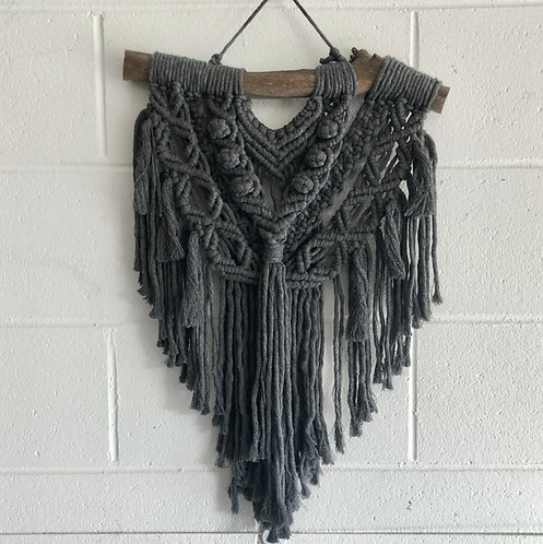 Charcoal Macrame Wall Hanging