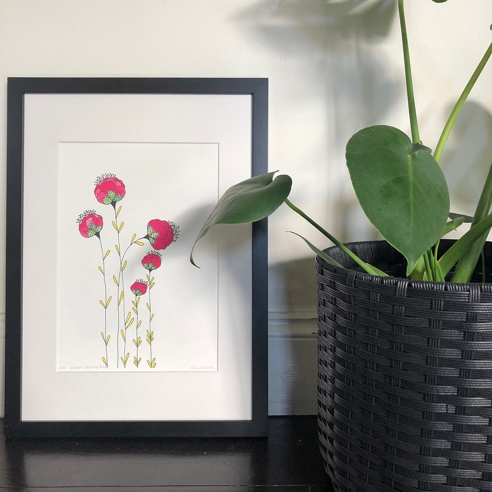 Imagine bursting pink flowers print