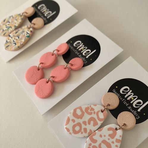 Peach / Nude Dangle Earrings - EMEL