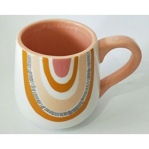 Just be happy Rainbow mug Mustard - URBAN PRODUCTS
