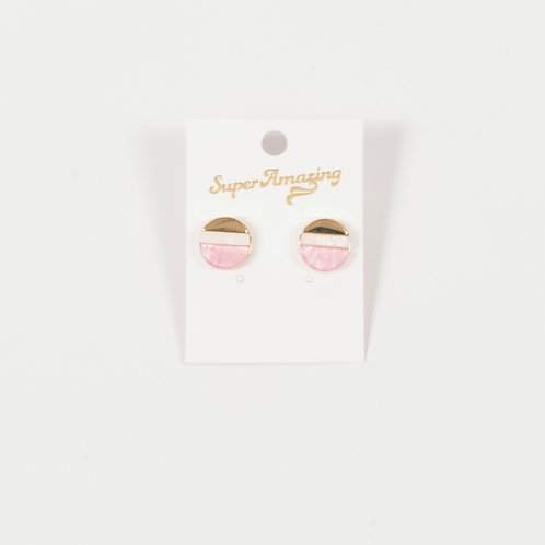 Shell Spliced Stud Earrings - Pink and Grey