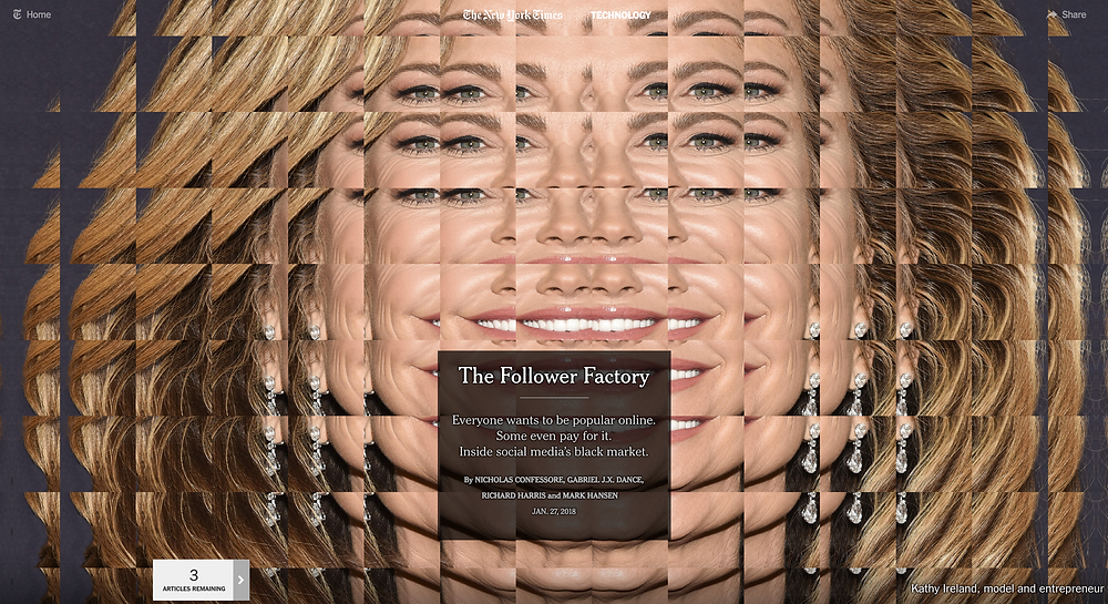 The Follower Factory, photo and © NY Times