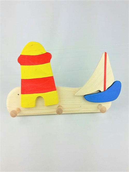 Garderobe klein - Leuchtturm Boot blau Segel weiß