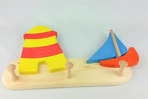 Garderobe klein - Leuchtturm Boot Segel blau
