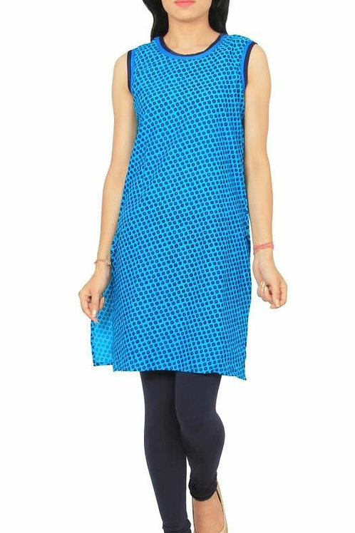 Sleeveless Blue A-Line Kurtas