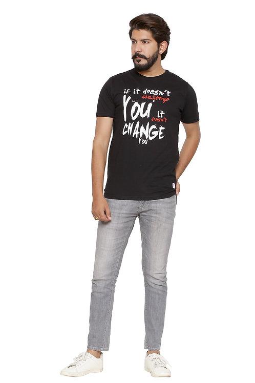 Challenge you-Printed Round Neck Tshirt