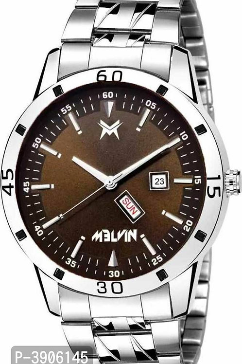 Metal  Brown dial Day & Date Watch For Men