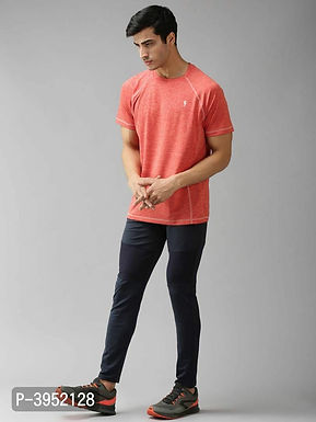 Men's Solid Polyester Orange Sports Tshirt