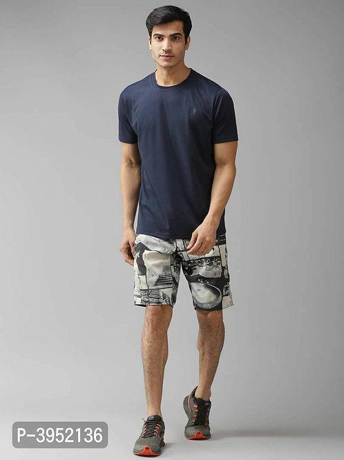 Men's Solid Polyester Dark Grey Sports Tshirt