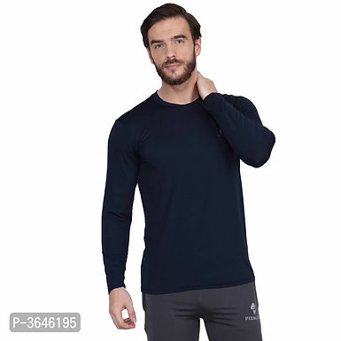 Spandex Navy Blue Sports T-Shirt
