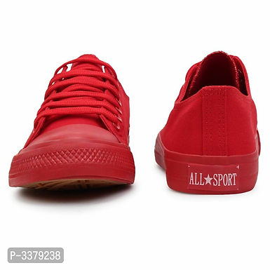 Printed Lace Up Red Canvas Ultra Light Sneakers