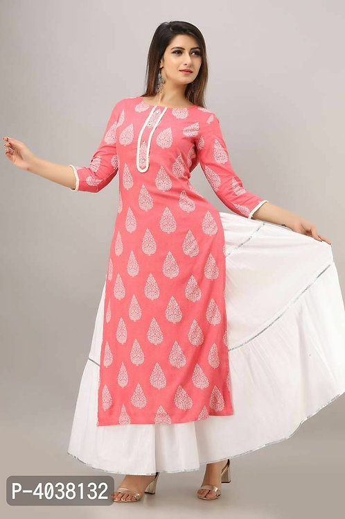 Stylish Peach Red Kurta With Palazzo