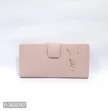 Stylish Pink PU Wallet For Women