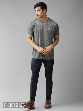 Men's Solid Polyester Grey Sports Tshirt