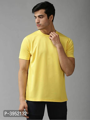 Men's Solid Polyester Yellow Sports Tshirt