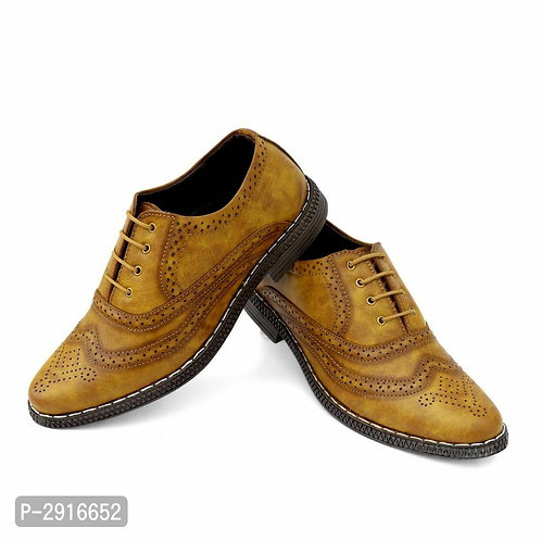 Light Brown Textured Synthetic Leather Formal Shoes