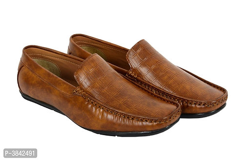 Elegant Tan Synthetic Brown Leather Solid Men's Loafers