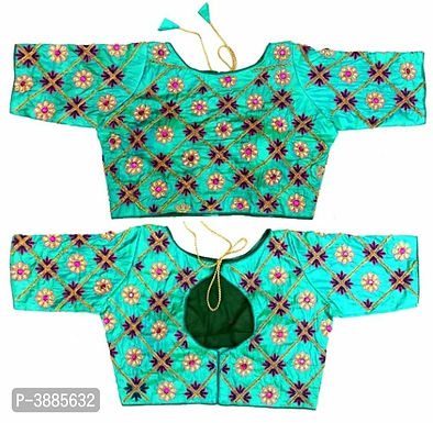 Parrot green Embroidered Blouses