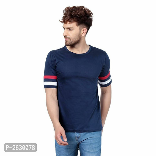 Blue - Cotton Round Neck T-Shirt