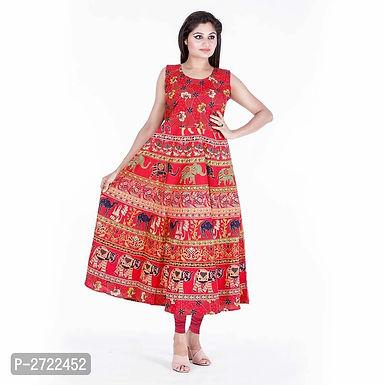 Regular Wear Red Cotton Long Flared Kurta