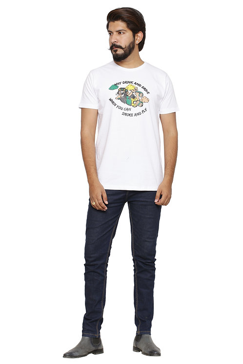 Fly-Printed Round Neck Tshirt