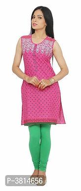 Sleeveless Pink A-Line Kurtas