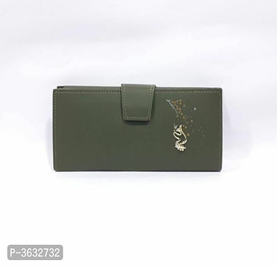 Stylish Olive PU Wallet For Women
