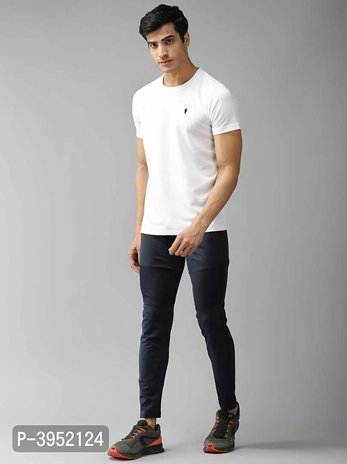Men's Solid Polyester White Sports Tshirt