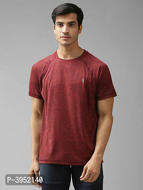 Men's Solid Polyester Maroon Sports Tshirt