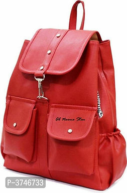 Red PU Backpacks For Women