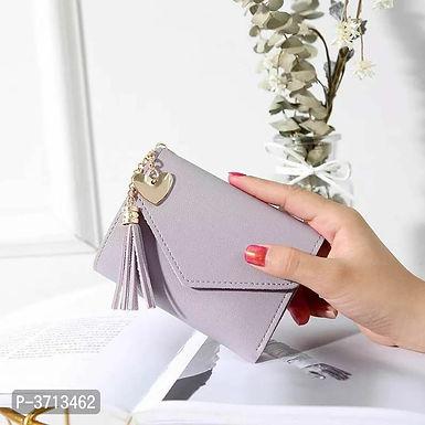 Leather Grey Women Wallets