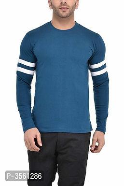 Men's Blue Self Pattern Cotton Round Neck Tees