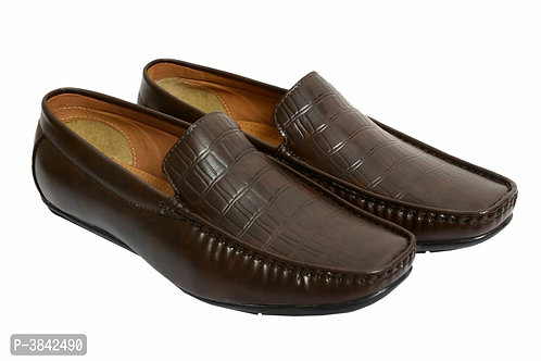 Elegant Tan Synthetic Black Leather Solid Men's Loafers